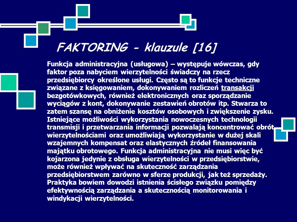 FAKTORING - klauzule [16]